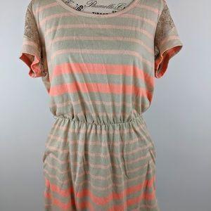 KIRRA Beige and Peach striped cotton dress lace